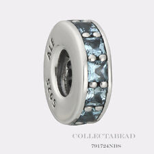 Authentic Pandora Sterling Silver Eternity with SkyBlue Crystal Spacer 791724NBS