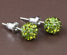 1 pair Shining 10mm Olive green CZ Disco Bead Ball Pave Earrings jewelry DIY B20