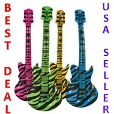 "12 Huge Large 42"" inch ZEBRA Animal Print Inflatable GUITARS Kids Party FAVORS"