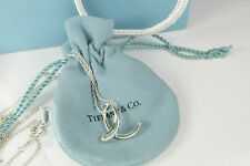 Tiffany & Co Elsa Peretti HUGE XL Letter E Alphabet Pendant Necklace Silver 30""