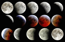 Full Lunar Eclipse Progression Moon Space Painting 11x17 Real Canvas Art Print .