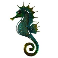 Stunning Metal Green Seahorse Wall Plaque 16cm Decoration