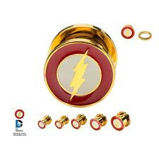 "Flash Logo Screw Fit Gold Plated Steel Plug 1/2"" 12PR Licensed DC Comics"