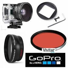 HD WIDE ANGLE LENS FOR GOPRO HERO4 SILVER +HD RED UNDERWATER FILTER FAST SHIPPIN
