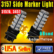 2 PCS Car Amber Yellow 3157 68-SMD LED Front Rear Side-Marker Light 3157A 3457A