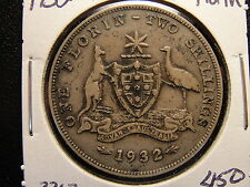 1932 Australia Florin Sterling Silver Key Date to the Series (JW)