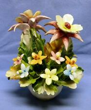 """CAPODIMONTE HAND MADE HAND PAINTED FLOWERS  VASE ITALY VERY OLD SZ-APPROX.6"""" T"""