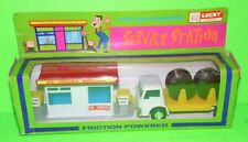 V-Rare LUCKY Toys 1960's Friction TRUCK  & SERVICE STATION SET BOXED HONG KONG