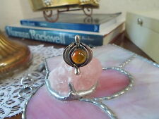 Gorgeous Sterling Silver, Amber Cabochon Ring, Size 7