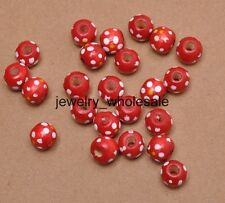 100pcs Charm Round Dot Loose Spacer Wood Beads Jewelry Making Finding DIY 10X9MM