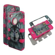 For Apple Iphone 4 4S Hybrid PinkStrip  Wolf Hard Soft Cover Case