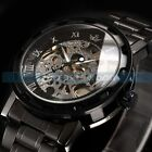 Men Stainless Steel Black Hollow Dial Automatic Mechanical Skeleton Wrist Watch