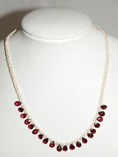 LATE VICTORIAN SEED PEARLS AND GARNETS NECKLACE