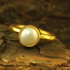 Handmade Hammered Designer Pearl Stack Ring 24K Gold Over Sterling Silver