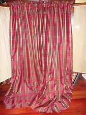CHRIS MADDEN MYSTIQUE RED GOLD PLAID FAUX SILK (PAIR) THERMAL LINED PANELS 54X84