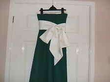 "Girls Satin Bridesmaid or Prom Dress 26"" chest 43"" length.Green/cream.Size 8."