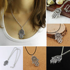 Silver Hamsa Fatima Hand Pendant Evil Eye Charm Chain Good Luck Symbol Necklace
