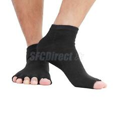 Footful Mens Womens Open Half Toe Socks Ankle Grip Yoga Pilates Dance Black