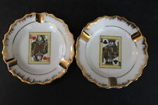 GC Japan HANDPAINTED King of Spades Queen of Hearts FINE CHINA Ashtrays Gold Rim