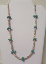 Zuni Turquoise Nugget Heishi Shell Necklace Native American 23""