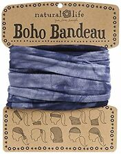 NATURAL LIFE NAVY BLUE TIE DYE BOHO BANDEAU STRETCH MULTIPLE WEARING STYLE
