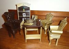 NEW! OOAK Barbie Desk Set Laptop Hutch Chairs Brown Gold 1:6 Action Figure Sindy