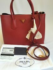 NEW Prada BN2775 Leather Nero Fuoco Red Saffiano Cuir Tote 2way Handbag $2780