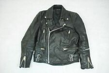 "Vintage 80's Black Leather ""Lightning"" Style Motorcycle Biker Jacket 36"""