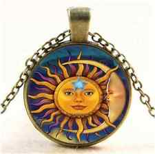 Vintage Moon and The Sun Photo Cabochon Glass Bronze Pendant  Necklace