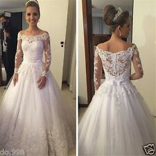 Off Shoulder Lace Wedding Dresses Long Sleeve See Through Appliques Bridal Gown