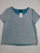 H&M WOMENS TURQUOISE LIGHT BLUE WRINKLED CREW S/S TOP BLOUSE S NWT