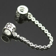 2X Safety Chain Bead Charm Alloy Silver Chain Bead Fit Bracelet Jewelry FG