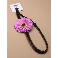NEW Purple gerbera flower on brown imitation hair headband bandeaux fashion