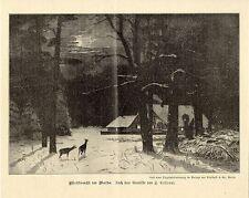 H.Kohnert ( Christnacht im Walde ) Jagliche Graphik Holzstich um 1900
