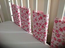 Cushi cots girls rose and gingham bar/bumper wraps 8 pack new