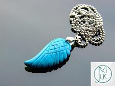 Blue Turquoise Gemstone Angel Wing Pendant Necklace Natural Chakra Healing Stone