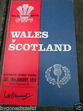 WALES v SCOTLAND SAT 19th JANUARY 1974 RUGBY PROGRAMME
