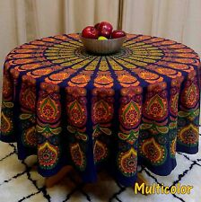 "Handmade Sanganeer Peacock Mandala 72"" Round Cotton Tablecloth Gorgeous Blue"