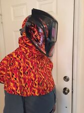 /welding caps--hood yell orange flames--jean liner