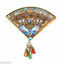 Vintage Chinese Gilt Silver Enamel Amethyst BUTTERFLIES Design FAN Brooch PIN