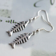 Antique Silver Fish Bone Skeleton Charm Earrings, Punk Kitsch