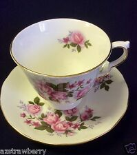 Queen Anne Bone China  England Tea Cup & Saucer Pink Roses #8575