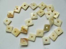 Mother of pearl MOP shell cream 20mm diamond donut square beads 16""
