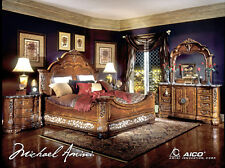 Michael Amini Excelsior King Bed 5 Piece Luxury Bedroom Furniture Set w/ Chest
