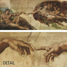 """60""""x26"""" THE CREATION OF ADAM by MICHELANGELO Repro CANVAS"""