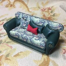 Pat Tyler Dollhouse Miniature Leather Sofa Couch Lounge Divan Settee W/Pillows