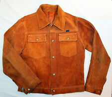 Vintage Wrangler Suede Heavy Leather Trucker Jacket Coat BROWN - Mens Small