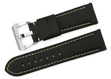 24mm Black Genuine Fabric Canvas Leather Wrist Band Belt Watch Strap For Panerai