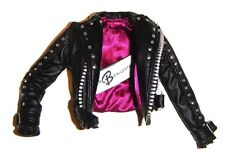 Barbie Fashion Black Faux Leather Jacket For Model Muse Dolls fn600