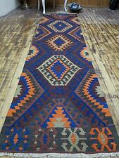 "Antique Turkish Antalya Rug Runner,Carpet Runner 33,4"" x 128,7"" Hallway Rug,Wool"